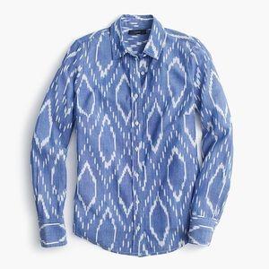 J. Crew Perfect Shirt in Sunfaded Ikat Blue